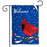 Cardinal Burlap Welcome Decorative Garden Flag