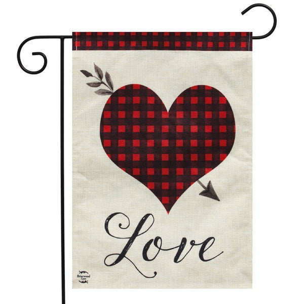 burlap flag with red and black checkered design inside a heart with the word
