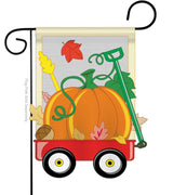 FALL PUMPKINS HAND WAGON APPLIQUE DECORATIVE FLAG
