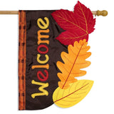 FALL LEAVES APPLIQUE DECORATIVE FLAGS