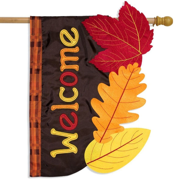 leaf shaped flag with autumn colors and the word