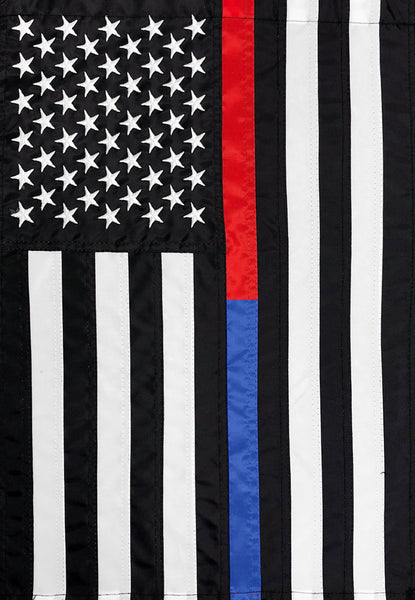 EMBROIDERED THIN BLUE AND RED LINE DECORATIVE FLAGS