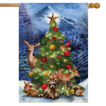 CHRISTMAS TREE FRIENDS BANNER FLAG