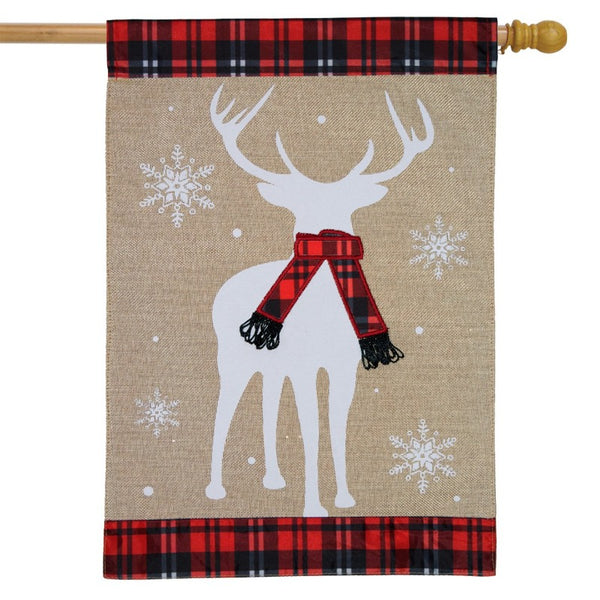burlap flag with plaid at the top and bottom with a white deer silhouette in the center