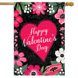 Happy Valentine's Floral Banner Flag