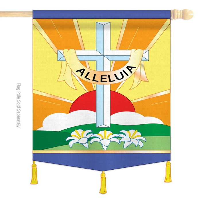 applique flag with sunrise and white cross saying