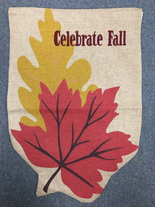 BURLAP WELCOME FALL LEAVES GARDEN