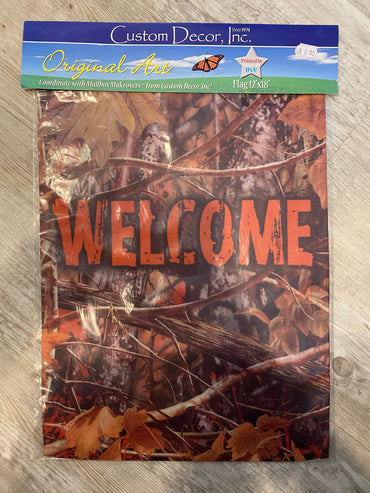 CAMO WELCOME DOUBLE SIDED GARDEN FLAG
