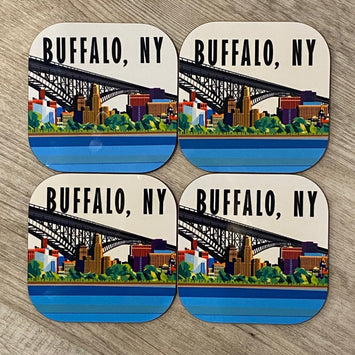 COASTER SET WITH A SKYLINE OF BUFFALO, NEW YORK