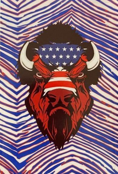 red, white, and blue zubaz print background with buffalo head american flag logo in the center