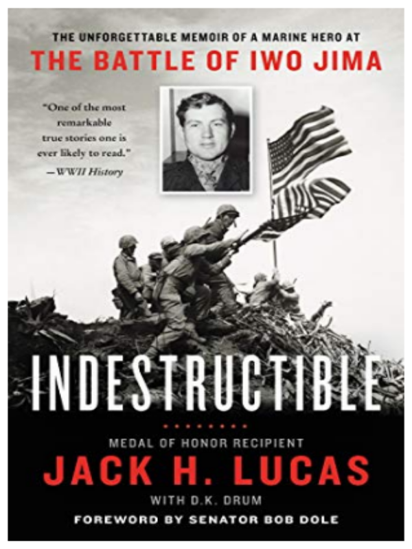 BOOK COVER WITH A PHOTO OF A MAN AND SOLDIERS HOLDING GROUND AT THE BOTTOM