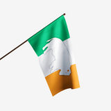 GREEN WHITE AND ORANGE IRELAND FLAG WITH A WHITE STANDING BUFFALO IN THE CENTER