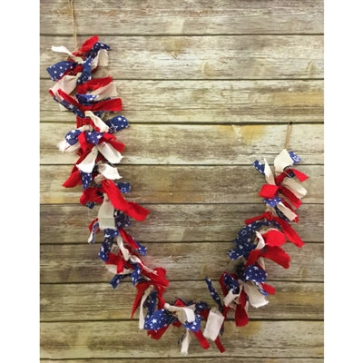 5' KNOTTED PATRIOTIC FABRIC GARLAND