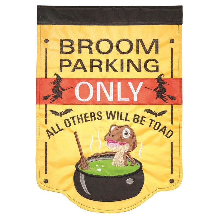 Broom Parking Double Applique Garden Flag