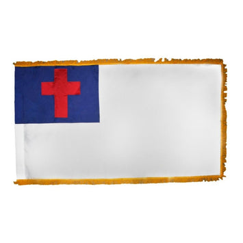 white flag with a red cross and navy blue background in the top left corner; gold fringe on 3 sides