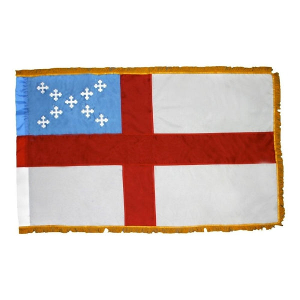 white flag with red cross through the center, top left corner is light blue with crosses in an X shape