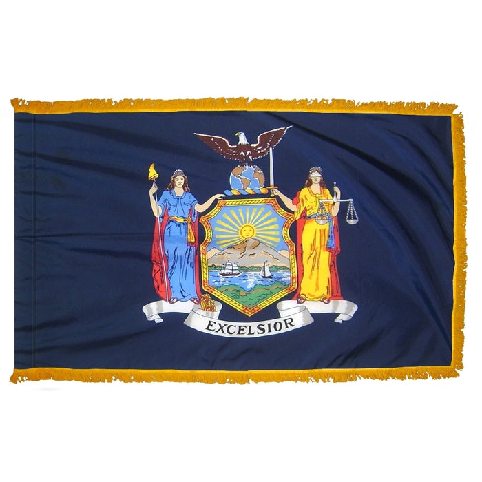 New York State Indoor Flag - Fringe
