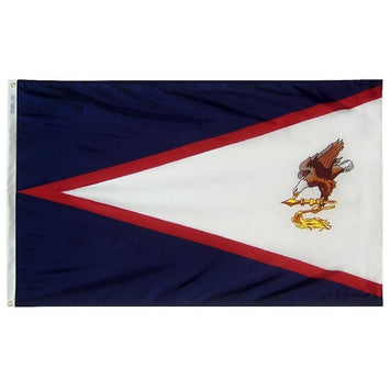 blue, red, and white flag with an eagle on the right side