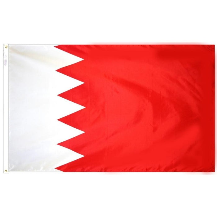 red and white flag with a triangle pattern off center