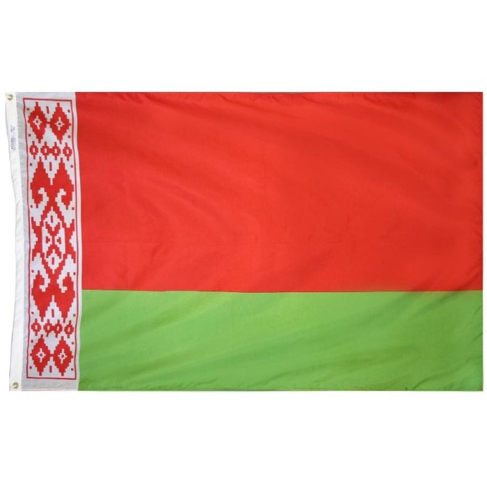 red and green flag with an ornate stripe pattern across the left side