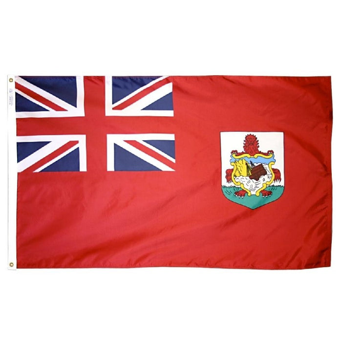 red flag with union jack canton and crest
