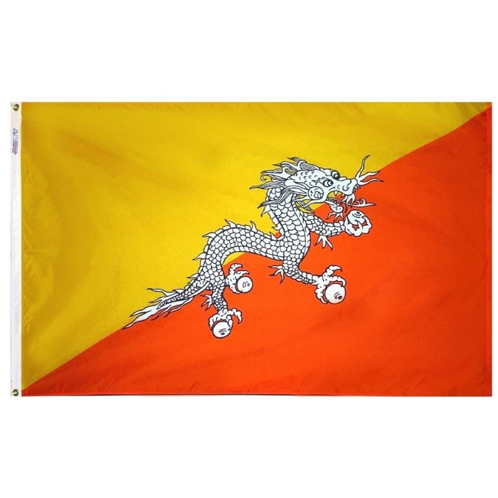 yellow and orange flag with a black and white dragon in the center
