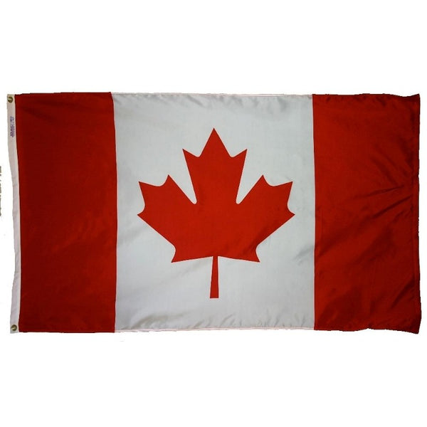 red and white vertically striped flag with red maple leaf in the center