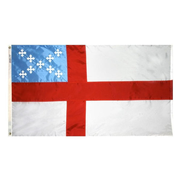 white flag with a red cross and blue canton with small white crosses