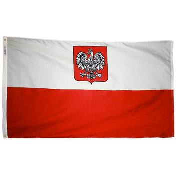 POLAND WITH EAGLE NYLON FLAG