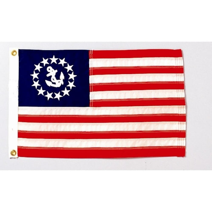US FLAG STYLE FLAG WITH A WHITE CIRCLE OF STARS WITH AN ANCHOR IN THE CENTER IN THE STAR FIELD AREA