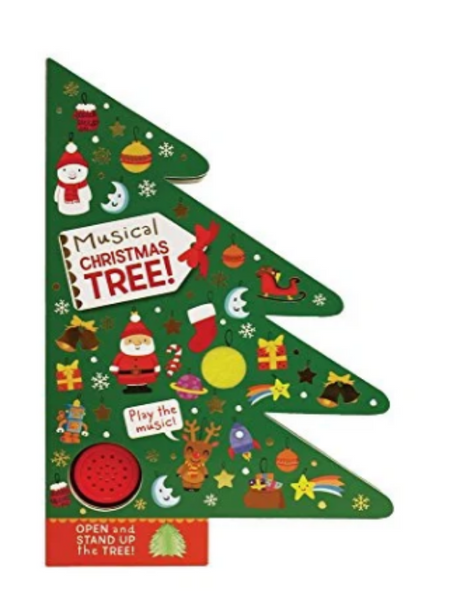 FRONT COVER OF A BOOK SHAPED LIKE A CHRISTMAS TREE WITH VARIOUS ORNAMENTS AND BUTTON FOR PLAYABLE MUSIC