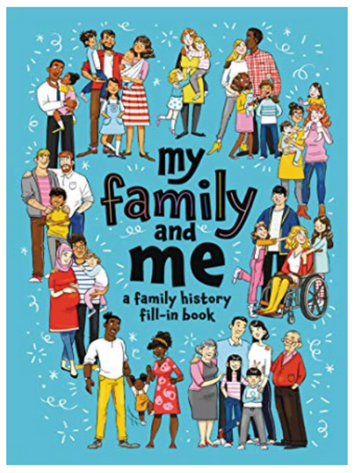 BOOK COVER WITH BLUE BACKGROUND AND DIVERSE FAMILIES AS A BORDER
