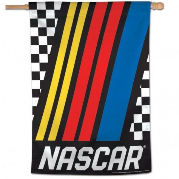 nascar flag with racing stripes going diagonally down the flag with black and white checkered background