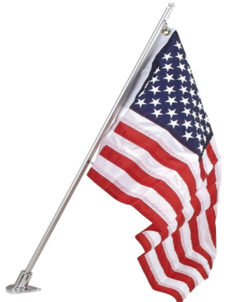 AMERICAN FLAG ON FLAGPOLE WITH BRACKET