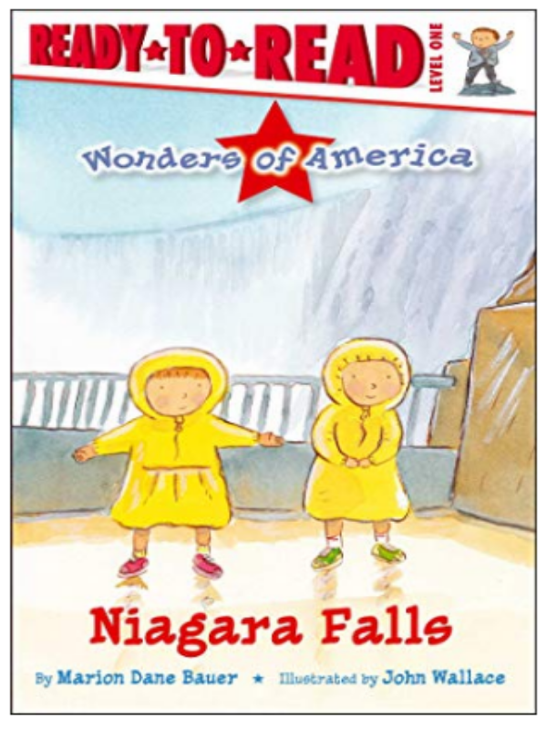 TWO KIDS IN RAINCOATS IN FRONT OF NIAGARA FALLS BOOK COVER