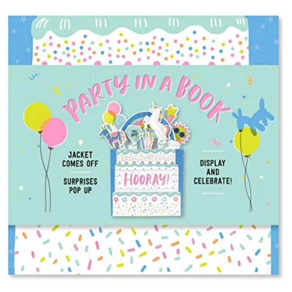 BOOK COVER WITH RAINBOW CONFETTI AND UNICORN PARTY DESIGNS