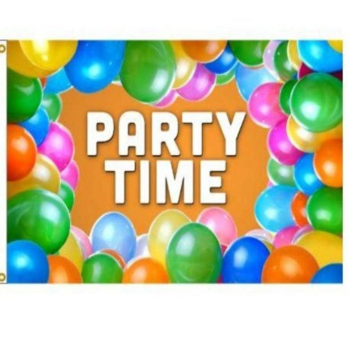 party time birthday flag with balloon border and orange background