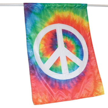 RAINBOW TIE DYE BANNER FLAG WITH A WHITE PEACE SIGN IN THE CENTER ON A DOWEL