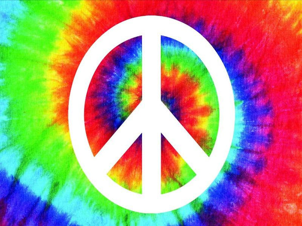 rainbow tie dye background sticker with white peace sign in the center