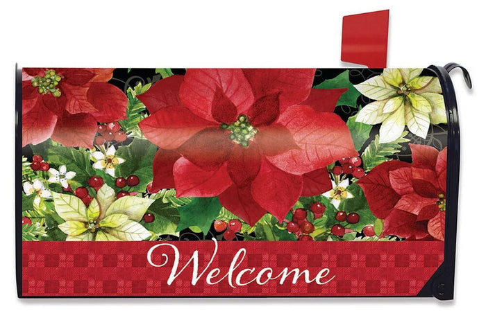 Poinsettia Welcome Mailbox Cover