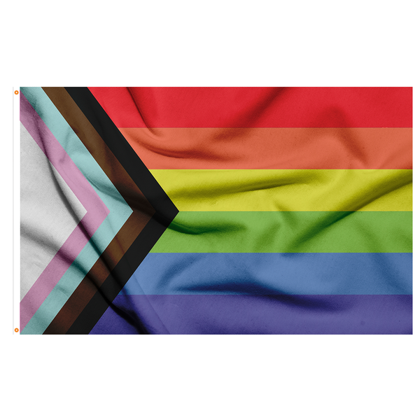 RAINBOW STRIPED FLAG WITH A TRIANGLE FOR THE TRANSGENDER FLAG COLORS ALONG WITH BLACK AND BROWN