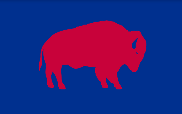 Red Standing Buffalo Decal