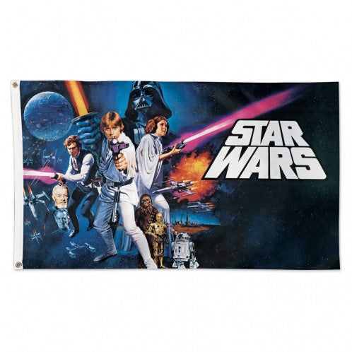 3X5 STAR WARS ORIGINAL TRILOGY CORE LOGO CHARACTERS FLAG