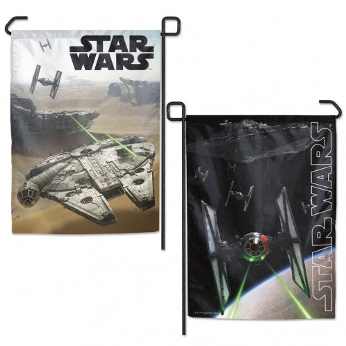 DISNEY STAR WARS 2-SIDED TIE FIGHTER MILLENNIUM FALCON GARDEN FLAG