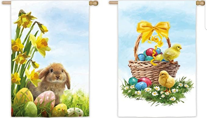 EASTER CHICKS WITH BUNNY BANNER FLAG