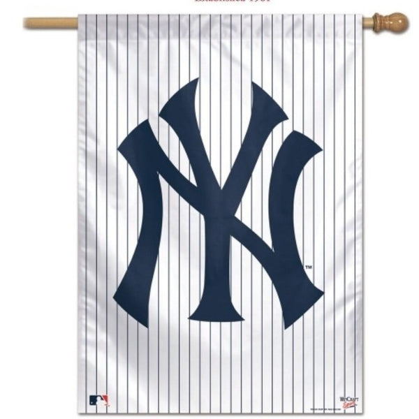 white flag with blue pin stripes and new york yankees flag