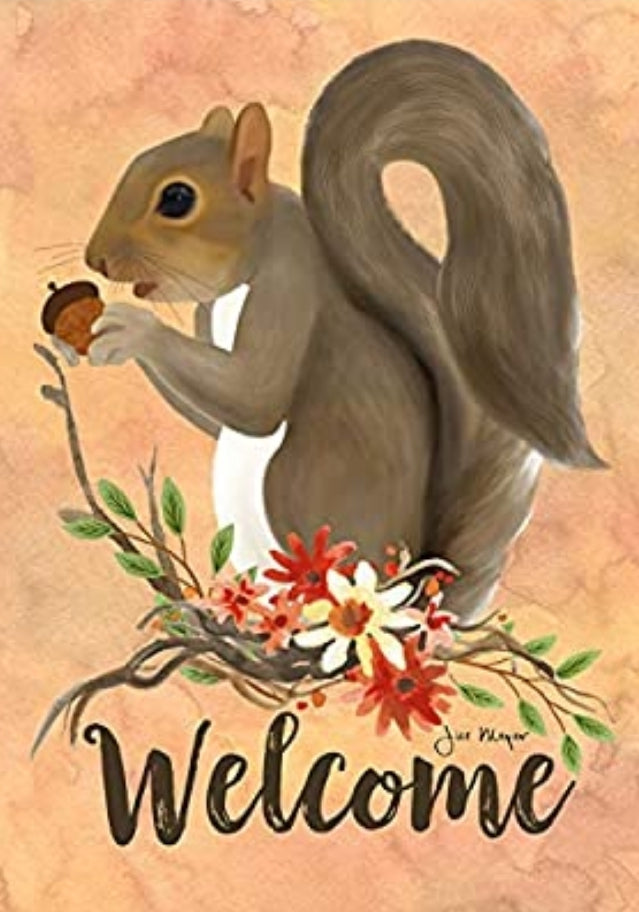 Squirrel Welcome 2-Sided Garden Flag