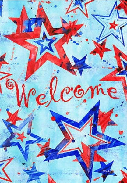 Patriotic Welcome Banner Flag