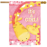 "pink flag with giraffes and the words ""it's a girl!"""