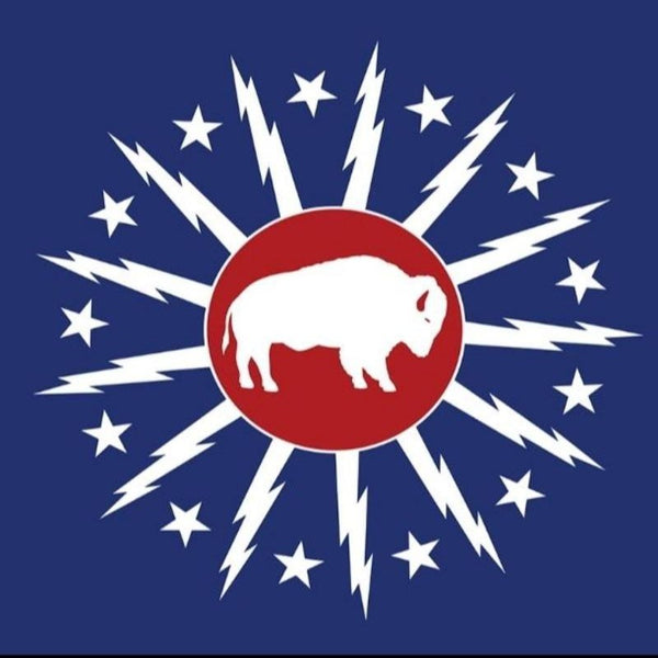 BLUE FLAG WITH THE CITY OF BUFFALO LOGO WITH A WHITE BUFFALO IN THE CENTER